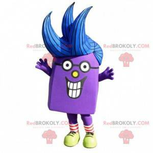 Very smiling purple snowman mascot - Redbrokoly.com