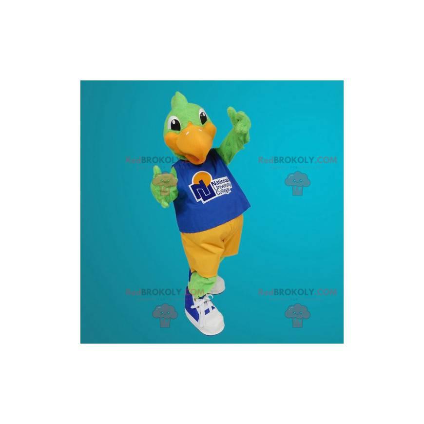 Maskotka zielony i pomarańczowy ptak - Redbrokoly.com