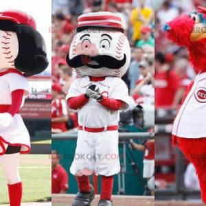 3 maskotki: 2 piłki baseballowe i czerwony potwór -
