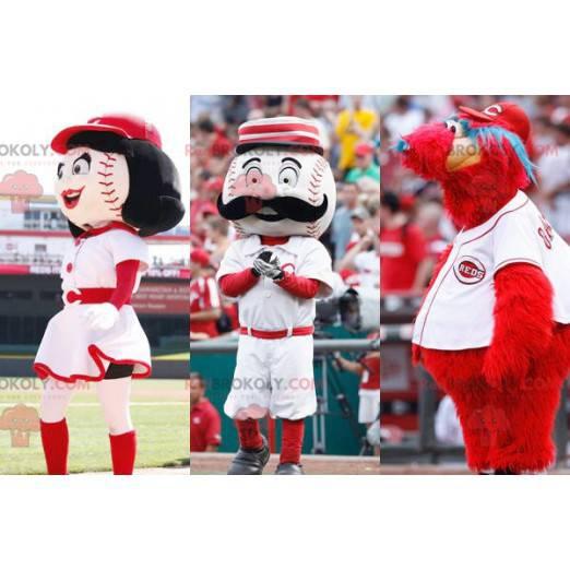 3 maskoti: 2 baseballové míče a červené monstrum -