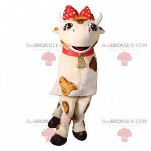 Maskot bílá a hnědá kráva s červenou mašlí - Redbrokoly.com