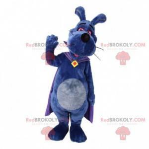 Fialový psí maskot s pláštěm. Králík maskot - Redbrokoly.com
