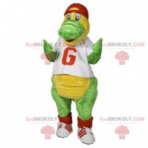 Green and yellow crocodile mascot dressed in red and white -