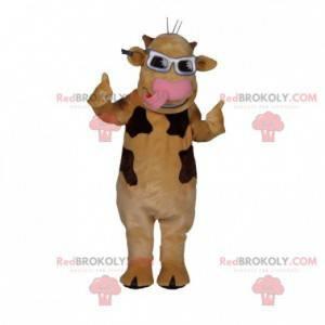Maskot béžová a hnědá kráva s brýlemi - Redbrokoly.com