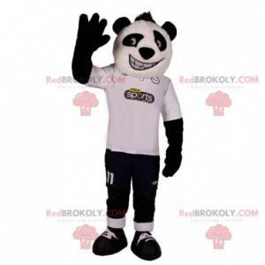 Sehr lächelndes weißes und schwarzes Panda-Maskottchen -
