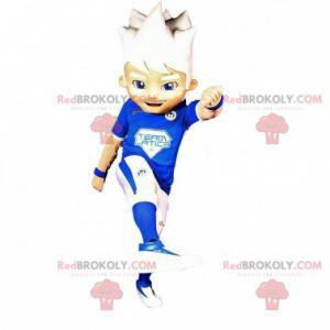 Sportovní chlapec maskot s bílými vlasy - Redbrokoly.com