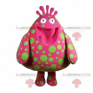 Velké růžové monstrum maskot se zelenými tečkami -