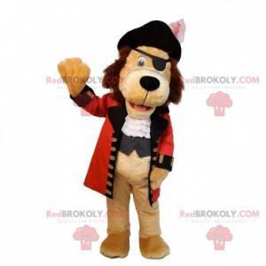 Béžový psí maskot oblečený v kostýmu piráta - Redbrokoly.com