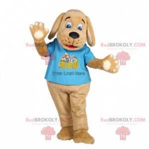 Maskot hnědé štěně psa s modrým tričkem - Redbrokoly.com