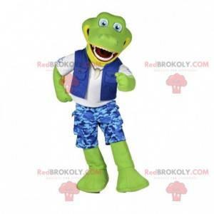 Green crocodile mascot in explorer outfit - Redbrokoly.com