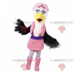 Barevný a ženský pštrosí maskot. Velký pták - Redbrokoly.com