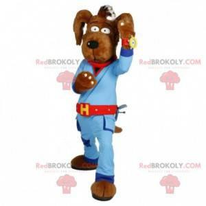 Hnědý psí maskot v modré kombinaci - Redbrokoly.com