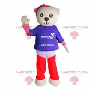 Gray cat mascot with colorful clothes - Redbrokoly.com