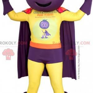 Superhelden-Maskottchen mit Rote-Bete-Zwiebelkopf -