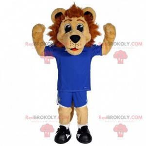Brown lion mascot in blue sportswear - Redbrokoly.com
