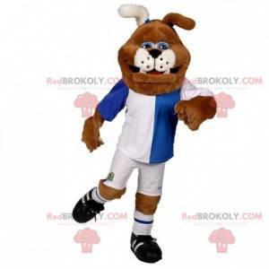 Brązowy i biały pies maskotka buldog w sportowej -