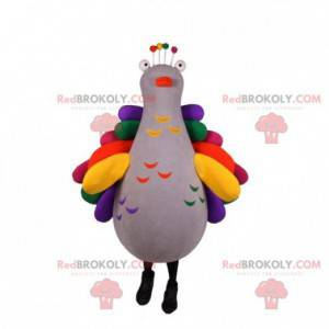 Very colorful pigeon peacock mascot. Bird mascot -