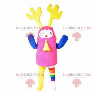 Colorful snowman mascot with yellow antlers and a bell -