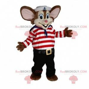 Maskot hnědá myš v námořnickém oblečení - Redbrokoly.com