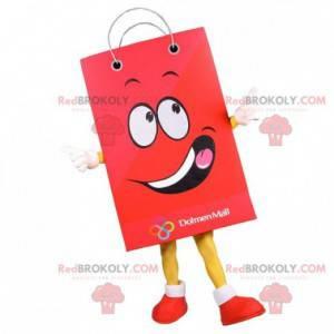 Obří papírový sáček maskot. Červená nákupní taška -