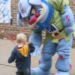 Niebiesko-różowy potwór ogr maskotka - Redbrokoly.com