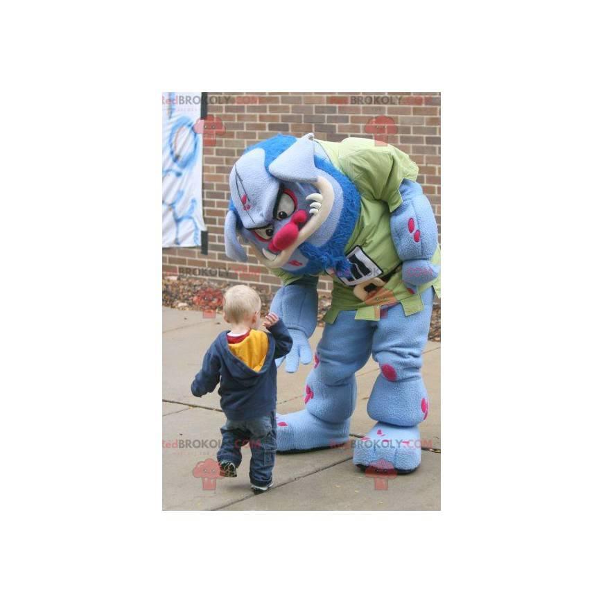 Blaues und rosa Monster-Oger-Maskottchen - Redbrokoly.com