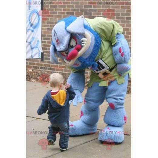 Blue and pink monster ogre mascot - Redbrokoly.com