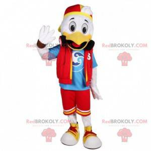 White and yellow duck mascot in young outfit - Redbrokoly.com