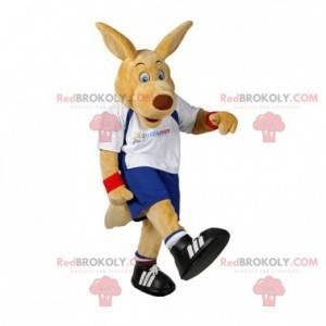 Beige kenguru-maskot i sportsklær - Redbrokoly.com