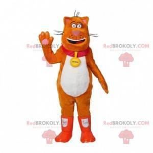 Maskot oranžové a bílé kočky s botami - Redbrokoly.com