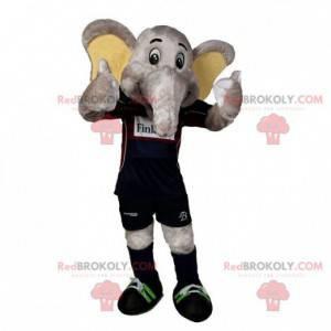 Gray elephant mascot in sportswear - Redbrokoly.com