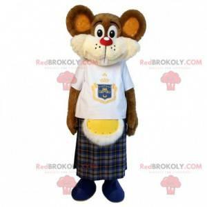 Brązowa mysz maskotka z kiltem. Maskotka gryzonia -