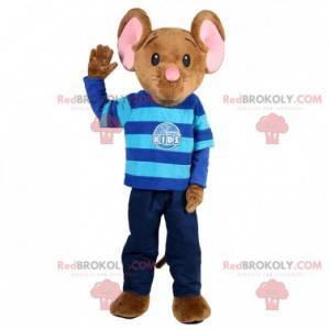 Brązowo-różowa maskotka myszy z niebieskim strojem -
