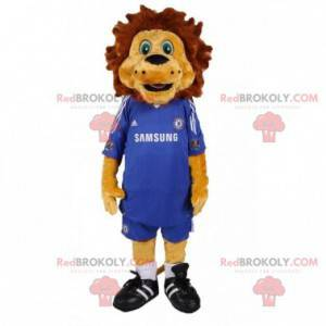Brown lion mascot with a blue football outfit - Redbrokoly.com