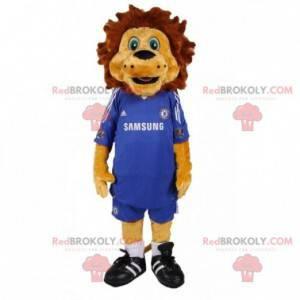 Maskot hnědý lev s modrým fotbalovým oblečením - Redbrokoly.com