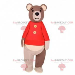 Velký medvěd hnědý maskot s červeným svetrem - Redbrokoly.com