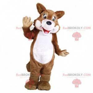 Hnědý a bílý vlk pes liška maskot - Redbrokoly.com