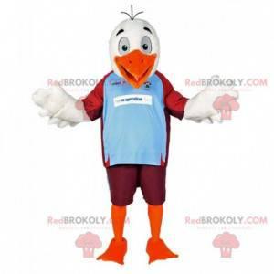 White and orange seagull bird mascot in sportswear -