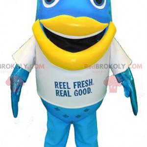 Stor blå og gul morsom fiskemaskot - Redbrokoly.com
