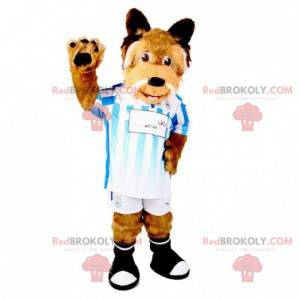 Hnědý a bílý chlupatý a sportovní pes maskot - Redbrokoly.com