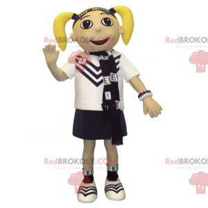 Maskot blondýnka s deky a uniformu - Redbrokoly.com