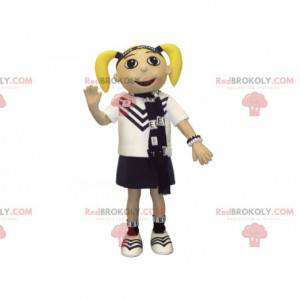 Mascot blonde girl in school uniform - Redbrokoly.com