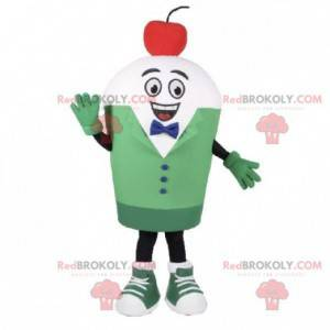 White snowman mascot with a cherry on his head - Redbrokoly.com