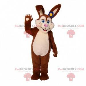 Brun og hvit plysj kanin maskot - Redbrokoly.com