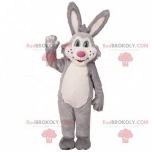 Šedý a bílý plyšový králík maskot - Redbrokoly.com