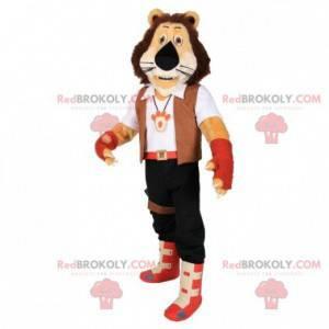 Maskot hnědý tygr v oblečení dobrodruha - Redbrokoly.com