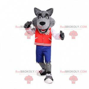 Sehr realistisches graues Wolfsmaskottchen mit Jacke und Shorts