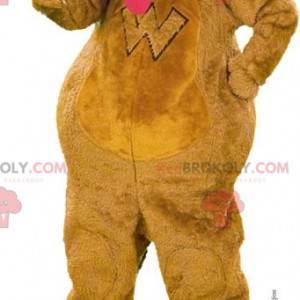 Brown dog mascot with hanging tongue - Redbrokoly.com