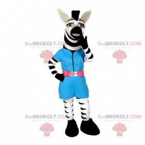 Witte en zwarte zebra mascotte met een blauwe outfit -