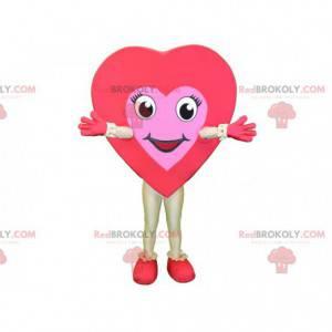 Maskot obří červené a růžové srdce. Romantický maskot -